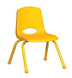 "14"" Stack Chair - Matching Legs Yellow, 6 Pack"
