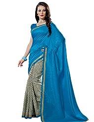 Prafful Silk Bhagalpuri Printed Saree With Unstitched Blouse - B00KNUGMKY