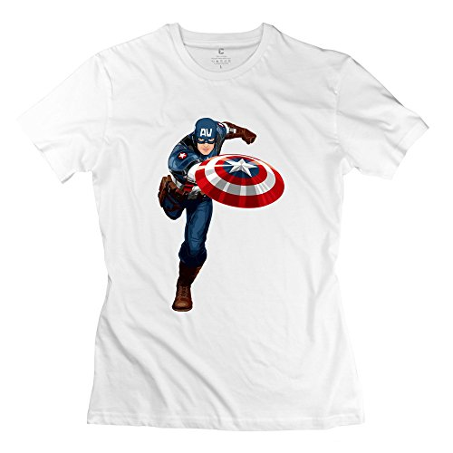 Women Running Captain America Custom Causal White T Shirt By Mjensen