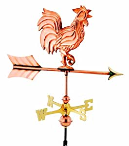 Good Directions 802PG Rooster Garden Weathervane, Polished Copper with Garden Pole