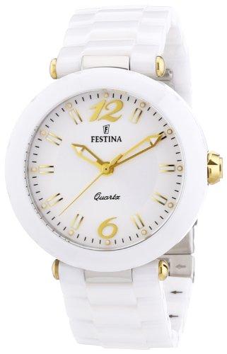 Festina F16640/3 - Reloj analógico de cuarzo para mujer, correa de cerámica color blanco (agujas luminiscentes)