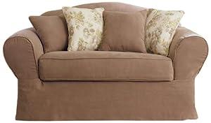 Sure Fit Suede Supreme 2-Piece Sofa Slipcover, Sable