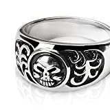 Stainless Steel Black and Silver Celtic Skull Band Ring Mens Size 9 - 14 R123