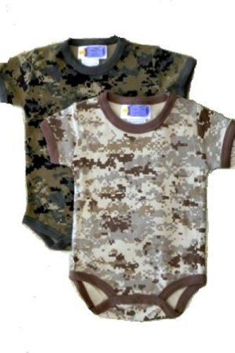 Infant Baby 2 Pk. Outtfit In Woodland Camo & Desert Camo Patterns (0-3 Months) front-777425
