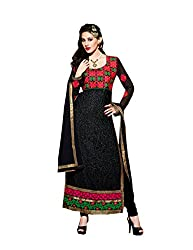 Amyra Women's Brasso Dress Material (AC752-04, Black)