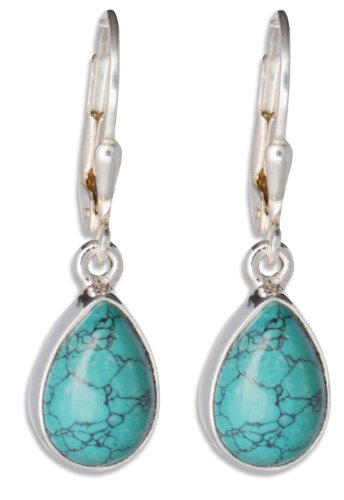 Turquoise Gemstone Earring Drop, ErCe, 925 Sterling Silver, Length 2.9 cm, in Gift Box