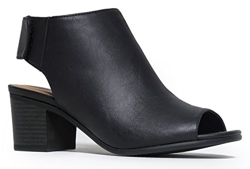 City Classified Harlyn-S Peep Toe Boots, Black Pu, 8 (How To Wear Thigh High Boots)