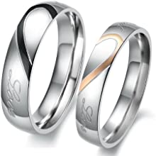 Aries.Goods Fashion Jewellery Endless Love Combine Heart Stainless Steel Wedding Band Anniversary/engagement/promise Couple Ring(With Gift Box)