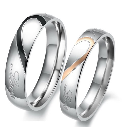 OPK Endless Love Combine Heart Black & Rose Gold 316 l Stainless Steel Titanium Wedding Band Couple Ring Best Gift!