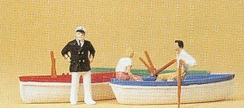 Row Boats (3) w/Couple & Captain HO Scale Preiser Models