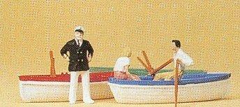 Row Boats (3) w/Couple & Captain HO Scale Preiser Models