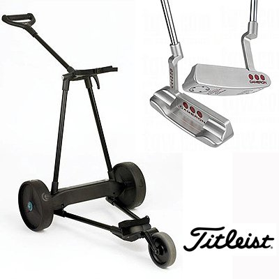 New! Emotion E3 23Lbs Pull Push Electric Motorized 3-Wheel Golf Cart Trolley + New!! Titleist Scotty Cameron Studio Select Putter