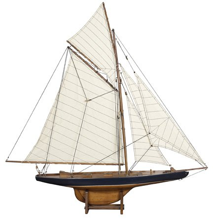 America's Cup Columbia 1901 - Handcrafted Sailing Ship Model - Small - French Finish - Table Stand Included - Authentic Models AS108 (Sailboat Model compare prices)