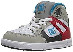 DC Rebound UL High Top Skate Shoe (Toddler), Grey/Red/White, 9 M US Toddler
