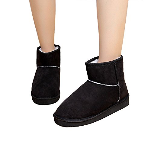 Minetom Damen Classic Schuhe Stiefeletten Winter Fur Boots Winterstiefel Warm Casual Flats Bequeme Mode Boots ( Schwarz EU 37 )