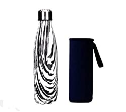 Yeevion Stainless Steel Water Bottle Insulated Hot Cold Cola Bottle Carrier Zebra