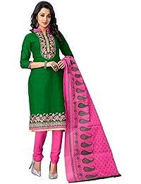 Justkartit Women's Green & Pink Colour Straight Cotton Chudidar Style Salwar Kameez / Party Wear Embroidered Churidar...