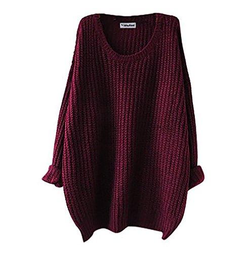 Yidarton Donne Maniche Lunghe Pullover Maglione Maglietta Casual Maglioni Oversize Tops (Vino)