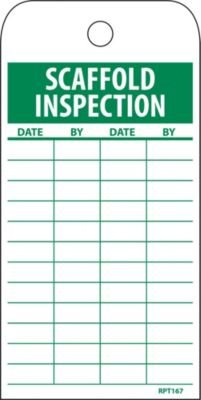NMC RPT167 SCAFFOLD INSPECTION Accident Prevention Tag, Unrippable Vinyl, 3 Length, 6 Height, Green on White (Pack of 25) nmc w6ab osha sign legend warning lead work area poison no smoking or eating 14 length x 10 height aluminum black on orange