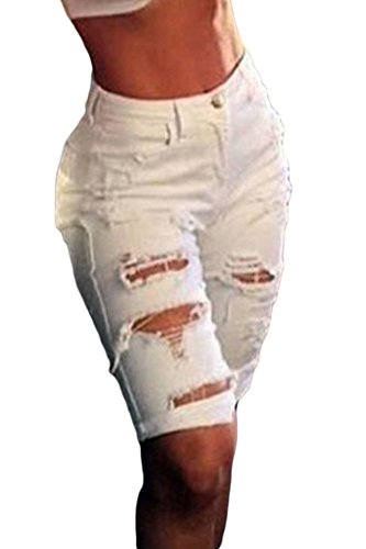 Dokotoo Womens Casual Denim Destroyed Bermuda Shorts Jeans Large White White Casual Shorts