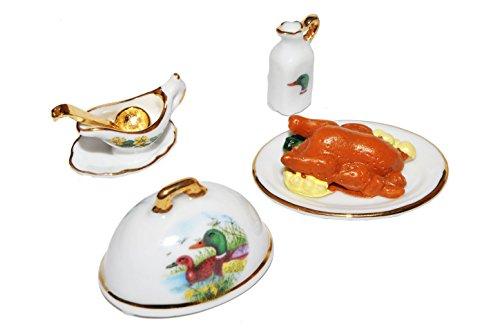 Miniatur Enten Braten mit Geschirr - Maßstab