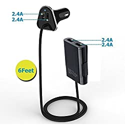 [HOT&LOT] 9.6A/48W Portable USB Car Charger Phone Adapter 4USB*2.4A with 6Feet Cord Front Seats 2USB Travel Charger Back Seats Dual USB Hub for Iphone Ipad Samsung Galaxy Android Phone and Tablet