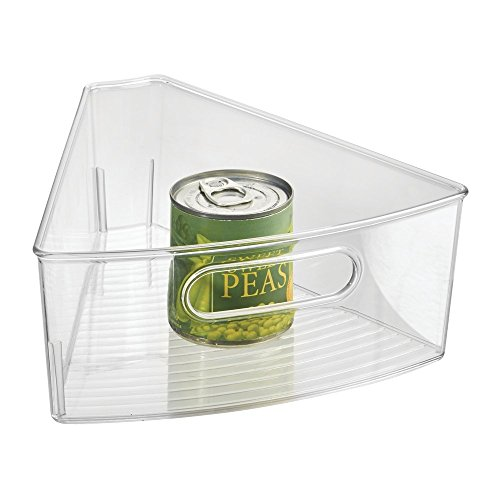 mDesign Lazy Susan Storage Bin with Handle for Kitchen Cabinets, Pantry - 1/8, Clear (Corner Storage Bin compare prices)