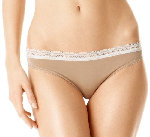 Calvin Klein Women's Lace And Sheen Thong,Skin