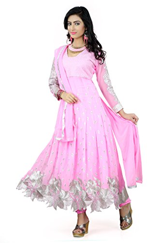 Metroz Womens Georgette Anarkali Unstitched Dress Material (Astrd62-1 _Pink)