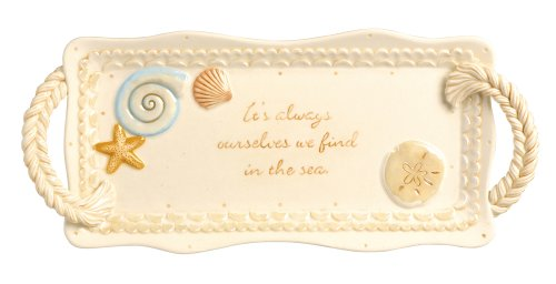 Grasslands Road Ceramic Seashell Cheese Tray With Handles, 13-Inch, Set Of 3