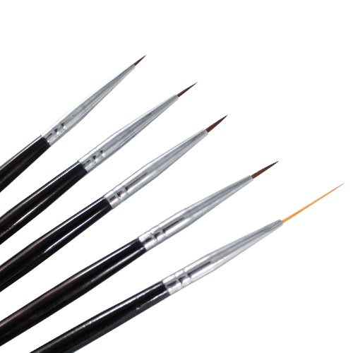 Winstonia 5 pcs Professional Nail Art Set Liner + Striping Brushes for Short Strokes, Details, Blending, Elongated Lines etc (Sable Hair Nail Art Brush compare prices)
