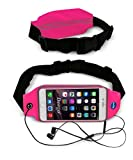 Adela Shop Waist Belt Case Fit iPhone 6 Plus,Samsung galaxy S6/S6 Edge,galaxy Note 4,LG G4 Almost Smartphones,Adjustable Lightweight Zipper Pockets Water Resistant Expandable Runners Waist Belt(rose)