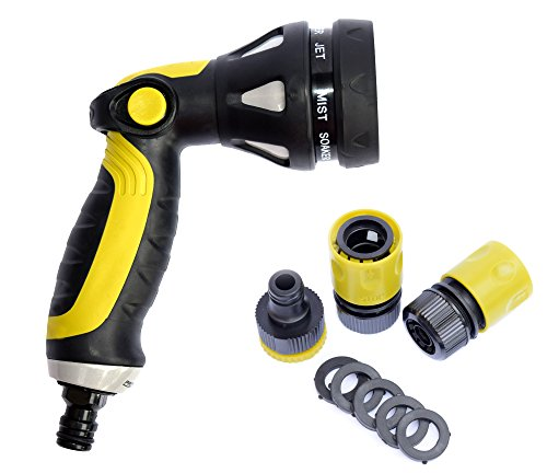 Garden Hose Hand Sprayer Nozzle - Professional Quality Spray Gun Heavy Duty 8 Pattern Spray Settings for High Pressure & Adjustable Water Flow (Set of 5 Pc) (Accesory For Pc compare prices)