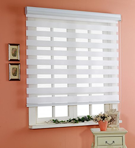 Custom Cut to Size , [Winsharp Basic , white , W 23 x H 72 (Inch)] Horizontal Window Shade Blind Zebra Dual Roller Blinds & Treatments , Maximum 91 Inch Wide by 103 Inch Long (Vinyl French Doors compare prices)