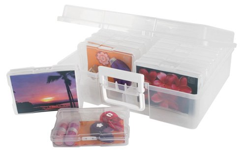 IRIS Photo and Craft Storage Organizer with 16 Small Photo Cases, Set of 2