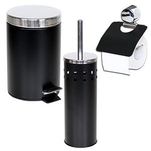 tectake set salle de bain brosse pour toilettes porte papier toilette poubelle noir. Black Bedroom Furniture Sets. Home Design Ideas