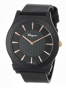 Salvatore Ferragamo Men's FQ3020013 1898 Round Black Ceramic Leather Strap Watch from Salvatore Ferragamo