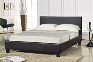 Brown Faux Leather Double Bed Frame (4FT6) from WorldStores