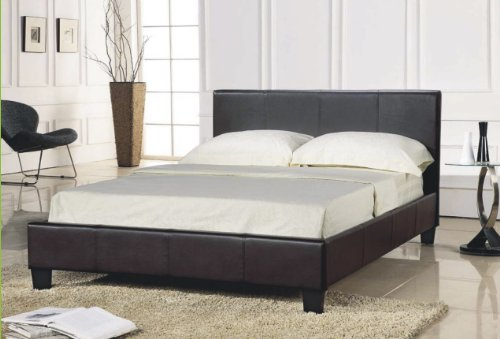 Brown Faux Leather Double Bed Frame (4FT6)