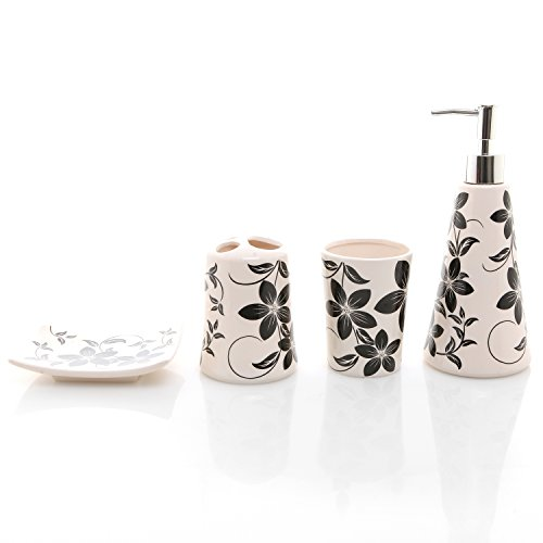 4 piece black white flower design ceramic bath set w for 4 piece bathroom designs