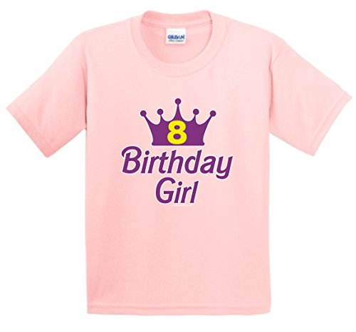 8th Birthday Party Supplies 8th Birthday Gifts For All Birthday Girl Tiara Youth T-Shirt Large LtPnk (Southern Marsh Decal compare prices)