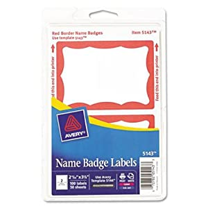 Avery Print or Write Name Badge Labels, Red Border,  2-11/32  x  3-3/8 Inches, Pack of 100 (5143)