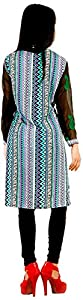 vogue4all Women's Crepe Tunic Dress (Green & Black, Large)