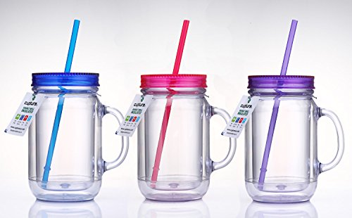Cupture Double Wall Insulated Plastic Mason Jar Tumbler Mug - 20 oz, 3 Pack (Plastic Color Mason Jars compare prices)