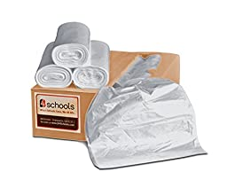 B4Schools 33 GALLON TRASH CAN LINERS/GARBAGE BAGS - High Density (HDPE), 500 Bags, 33x40 inches, 11.7 Microns (.46 Mil), Made In America