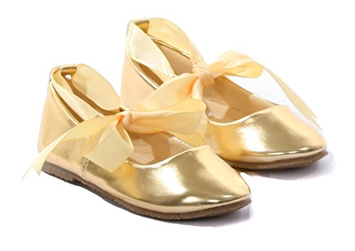 Ballerina Ribbon Tie Rubber Shoes Cinderella Flats With Flower Girls Party Gold Size 13