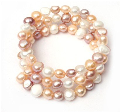6-8mm light white pink purple mixed-color freshwater pearl linking bracelet