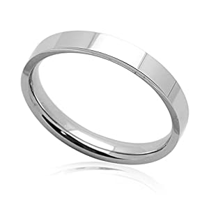 Little Treasures 3MM Comfort Fit Stainless Steel Wedding Band Classic Flat Ring