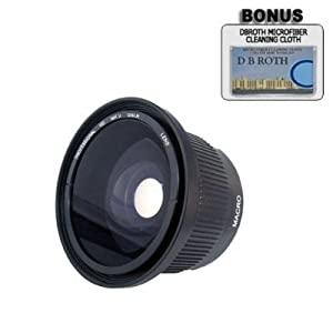 PLR 0.42x HD Super Wide Angle Panoramic Macro Fisheye Lens For The Canon Digital EOS Rebel T4i (650D), T3 (1100D), T3i (600D), T1i (500D), T2i (550D), XSI (450D), XS (1000D), XTI (400D), XT (350D), 60D, 60Da, 1D C, 50D, 40D, 30D, 20D, 10D, 5D, 1D X, 1D, 5D Mark 2, 5D Mark 3, 7D, 6D SLR Cameras Which Has Any Of These (18-55mm, 75-300mm, 50mm 1.4 , 55-200) Canon Lenses