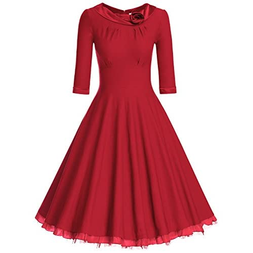 MUXXN Women's 1950s Vintage 3/4 Sleeve Rockabilly Swing Dress
